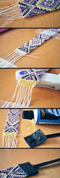 Como finalizar braceletes de miçangas - Hoje eu quero falar sobre a finalização desses braceletes que são feitos especialmente com a técnica da tecelagem.