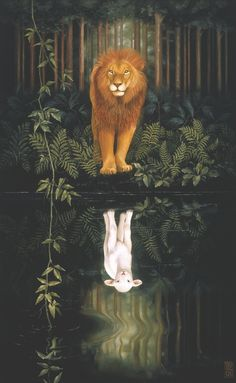 Lion of Judah Lamb reflection. Heather Cooper Studio Gallery is a showcase for remarkably talented artists. Painting, photography and sculpture that make the viewer think and wonder, opening the doors to interpretation. Realistic, surreal and symbolic, an imaginary mystery that begs a question. Heather's paintings are lush, detailed, inspired by nature and symbol. Prophetic art painting.