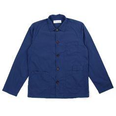Universal Works  Bakers Overshirt - Blue Poplin: Universal Works Bakers Overshirt in Blue Poplin  - Universal Works' Classic Workers Overshirt  - Tonal Buttons - 4 Front Pockets - Squared Hem