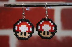 Mario Red Mushroom Perler Bead Sprite Earrings by WhiteMageInc