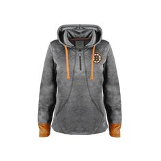 Women's Old Time Hockey Boston Bruins Annabelle Quarter-Zip Hoodie, Size: Medium, Black