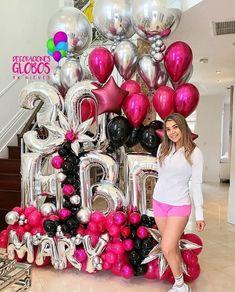Balloons Photography, Birthday Balloon Decorations, Balloon Columns, Balloon Bouquet, Rose Wedding, Ornament Wreath, Diy, Party Ideas, Amor