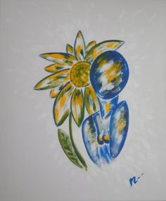 soleil  acrylique sur toile  75 cm * 50 cm