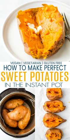 Make perfect creamy sweet potatoes in half the time it takes to bake or roast them. A simple method to get amazing instant pot sweet potatoes every time - plus recipes on how to use them! Cooking Sweet Potatoes, How To Cook Sweet Potato, Simple Sweet Potato Recipes, Stuffed Sweet Potatoes, Vegetarian Sweet Potato Recipes, Vegetarian Sweets, Mashed Sweet Potatoes, Instant Pot Dinner Recipes, Vegetarian Food