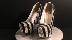 "Black & White vertical stripes 6"" high platform heels."