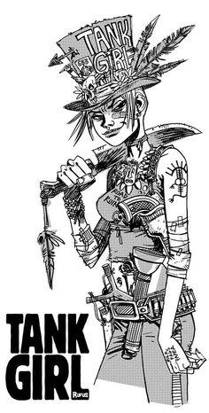 More tank girl Comic Book Artists, Comic Book Characters, Comic Books, Tank Girl Comic, Jamie Hewlett Art, Jet Girl, Arte Cyberpunk, Bd Comics, Illustrations
