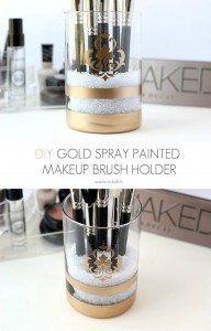 Gold spray painted makeup brush holder
