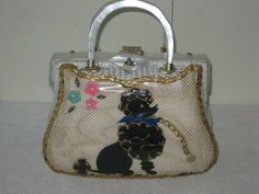 1950's Purse Wicker Lucite Tropical Florida Poodle