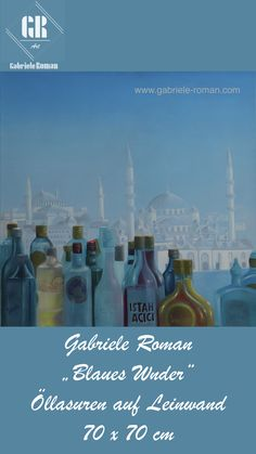 Gabriele Roman: Blauses Wunder | Gegenständliche, figurative Malerei, Öllasuren auf Leinwand | Auch als Fine Art Print auf Papier, Leinwand oder Metall erhältlich: artmajeur.com/gabriele-roman | Die Gesellschaft -nicht nur in der Türkei, sondern auch in Europa- wird durch Terrorakte gespalten und wir erleben geraten unser Blaues Wunder. Zuvor wurde die Gesellschaft durch die Unterteilung in Gläubige und Ungläubige gespalten. Inspirationsquelle war die 360° Bar in Istanbul (nahe… Hagia Sophia, Tempera, Istanbul, Art Prints, Artwork, Movies, Movie Posters, Inspiration, Gap