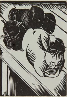 John Nash, Woodcut. Two cats.