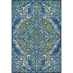 Hand-hooked Tessa Blue/ Lime Rug (3'6 x 5'6) | Overstock™ Shopping - Great Deals on Alexander Home 3x5 - 4x6 Rugs
