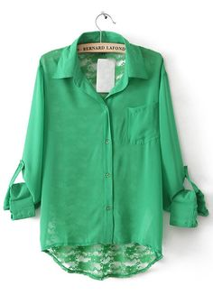 Green Patchwork Hollow-out Pockets Fitted Chiffon Blouse