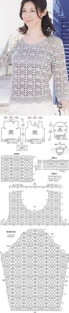 "Chorrilho de ideias: Bolero em crochet com esquema [ ""Crochet top with chart pattern"", ""really love it"" ] # # # # # # # # # Débardeurs Au Crochet, Pull Crochet, Gilet Crochet, Crochet Coat, Crochet Jacket, Crochet Cardigan, Crochet Clothes, Crochet Stitches, Crochet Baby"