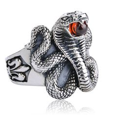 Male Snake Ring Brand 925 pure silver male ring Vintage Gothic punk men finger ring jewelry egypt snake with red crystal Pharaoh cosplay acc(China (Mainland))