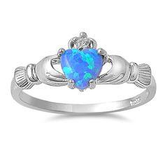 Silver Irish Claddagh Ring w/Blue Opal Heart