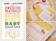 "Baby shower. Love the menu (the look and the actual food).  Would be really fun for a ""Meet the Baby"" type party."