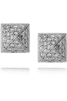 Anita Ko Pyramid 18-karat white gold diamond stud earrings
