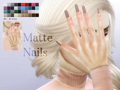 The sims resource: matte nails by pralinesims * sims 4 d Matt Nails, Cc Nails, Oval Nails, Shellac Nails, Coffin Nails, Sims Four, Sims 4 Mm, Black Eyed Peas, Sims 4 Nails