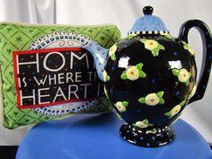 """Mary Engelbreit TEAPOT Black Flowers Dots Large 8"""" High Home Heart PILLOW EUC"""