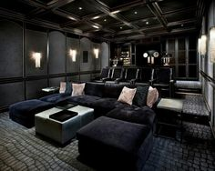 Find more ideas: Basement Home Theater Lighting Ideas Small Home Theater Rooms Ceiling Decorations Home Theater Speakers System & Projector Home Theater Furniture On A Budget DIY Home Theater Seating Design Home Theater Lighting, Home Theater Room Design, Home Cinema Room, Home Theater Furniture, Home Theater Decor, At Home Movie Theater, Home Theater Rooms, Home Theater Seating, Home Movie Theaters