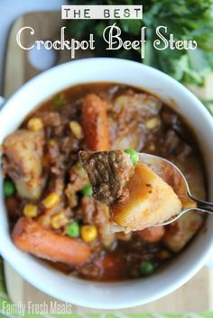30 Easy Crockpot Recipes - The Best Crockpot Beef Stew FamilyFreshMeals