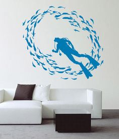 Scuba Diver Fish Deep Sea Diving Wall Decoration Vinyl Art Decal Kids Sticker