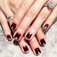 Wine and Gold Nail Art: wine-coloured with a touch of gold