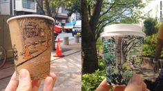 Artist turns takeaway coffee cups into cool panoramic sketches of everyday Japanese street life.