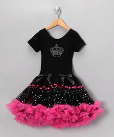 Love this Black & Hot Pink Crown Ruffle Dress - Toddler & Girls on #zulily! #zulilyfinds