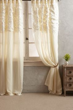 Either grey or cream... Smocked Torrey Curtain - anthropologie.com