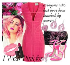 """""""I wear Pink for........"""" by charlotte-clavier ❤ liked on Polyvore featuring Hervé Léger, Carvela, Bling Jewelry and Lipstick Queen"""