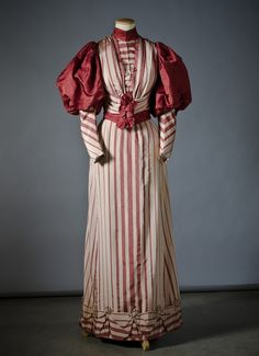 There's such a charmingly fun Christmas candy cane inspired vibe to this lovely day dress from the 1890s. #Victorian #19th_century #1800s #photograph #antique #vintage #historical #costume #fashion