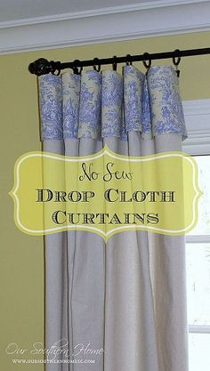 DIY - No sew drop cloth curtains