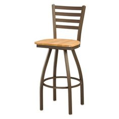 "Regal Swivel Bar Stool Seat Height: 24"", Upholstery: Mahogany Wood, Finish: Anodized Nickel"