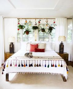 Such an eclectic style bedroom! Love it!!