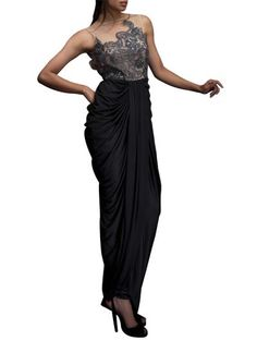 Sensuous Black Draped Gown by Indian Designer Siddartha Tytler #dresses #fall outfits #fashion
