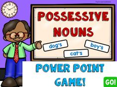 Possessive Nouns PowerPoint Game1st and 2nd Grade: Possessive Nouns PowerPoint Game, 25 QuestionsThis PowerPoint Grammar game has 25 questions.The questions are staggered, so that means they get more difficult as you go through them. The 1st ten questions have 2 choices and the student must write do...