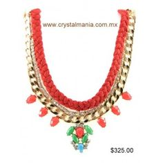 Set de collar y aretes dorados con cristales e hilo en color naranja estilo 30319