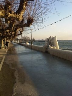 Lake Leman, Nyon, ice structures built in cold winters by Nothwind (Bise) blowing water on land Lake Geneva, Lonely Planet, Switzerland, Planets, Sidewalk, Walking, Ice, Cold, Videos