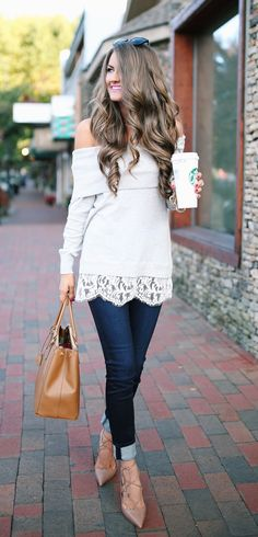 off-the-shoulder sweater with lace hem