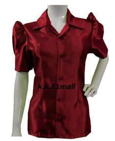 Formal Wear Stretchy Collar Shirt Short Sleeve Shirt Violet red Button Down Casual Office Wear, Casual Wear, Half Sleeve Shirts, Half Sleeves, Collar Shirts, Shirt Blouses, Victorian Shirt, The Office Shirts, Satin Shirt