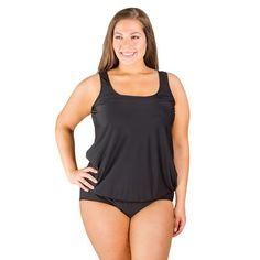 d97008761db Black Blouson Plus Size Swim Top Plus Size Swimsuits