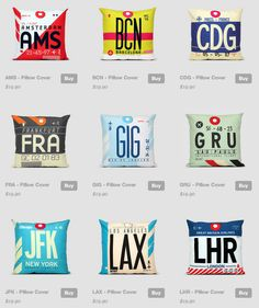 Airport Code Pillows - http://airportag.com