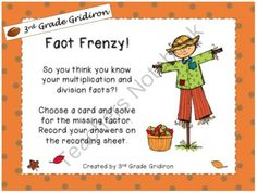 FREE Fact Frenzy Center! (Common Core Aligned)  from 3rd Grade Gridiron on TeachersNotebook.com (5 pages)  - Common Core aligned math center for finding the missing/unknown factor!