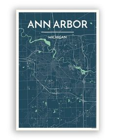 Ann Arbor Map Original Artwork Ann Arbor Blueprint Wall Art