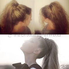 So I have seen the bottom image floating around & LOVED the look of a fat pony tail - I asked my Instagram followers & fellow hairdressers - how do we achieve this look? 99% said hair extensions - 1 friend said no, try this idea... I used 2 large Velcro rollers side by side under my pony with an elastic around my hair & rollers - I then used a fat loose 3 strand braid to wrap over the elastic to hide it! PERFECTION ACHIEVED!!! Can't wait to wear this tomorrow & get better pics!!!! ;)