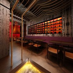 "Completed in 2012 in Shanghai, China. Images by Nacasa & Partners Inc. Designed by Prism Design, the new Kemuro Shanghai Restaurant is inspired in the Kill Bill movies. ""Edo Robata Kimuri"" is a famous restaurant for. Modern Restaurant, Chinese Restaurant, Cafe Restaurant, Resturant Interior, Bar Interior, Restaurant Interior Design, Shanghai, Design Comercial, Chinese Interior"