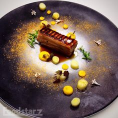 Sous Vide Pork Belly with Japanese Marinade, Leek Confit, Carrot-Shiro Miso Puree, Pork Jus, Carrot Powder