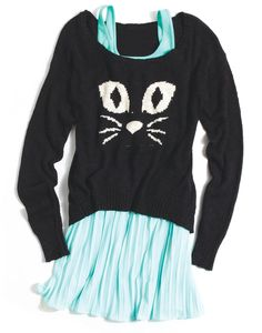 Soft Pleated Skirt and Cat Sweater @Emmie Butler ;) Thought you'd like this!