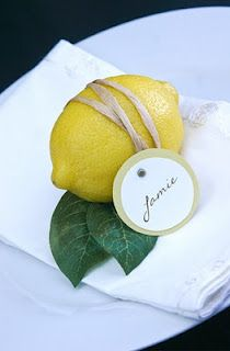 Cute tea party place setting for lemon themed party